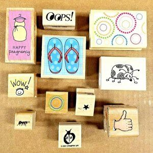 Lot of 11 Rubber Stamps on Wood Blocks Baby Party